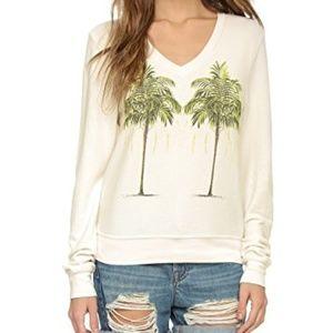 WILDFOX palm tree v-neck sweater